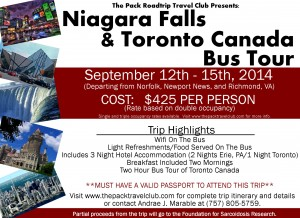 Niagara Falls and Toronto Canada Bus Tour – Fundraiser to Benefit the Foundation for Sarcoidosis Research @ orfolk, Newport News, and Richmond Virginia | Richmond | Virginia | United States