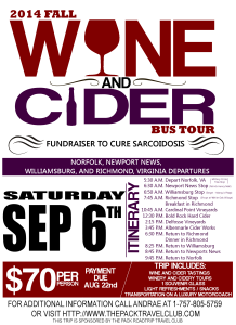 Fall Wine and Cider Bus Tour – Fundraiser for Sarcoidosis Research @ Norfolk, Newport News, Williamsburg, and Richmond, Virginia Departures | Norfolk | Virginia | United States